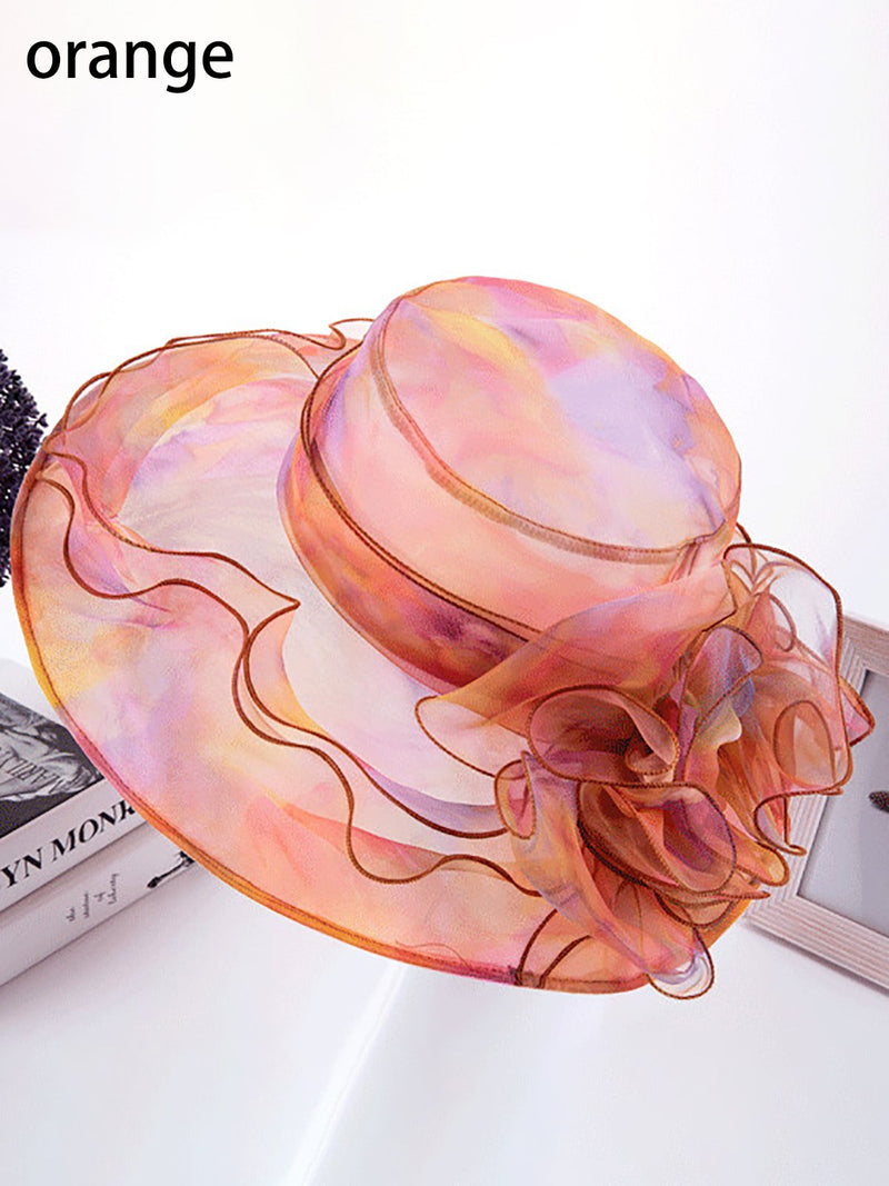 Orange Organza Floral Beach Hat
