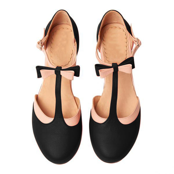 T-Strap Bowknot Summer Casual Chunky Heel Buckle Womens Sandals