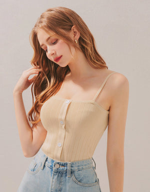 Thin Straps Button Down Knitted Crop Cami Top