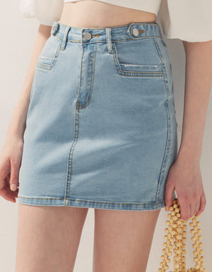 Button Slim Fit Denim Skirt