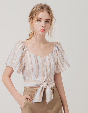 Off Shoulder Button Striped Knot Top