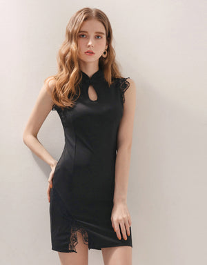 Elegant Lace Keyhole Slit Cheongsam Dress