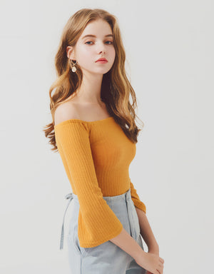 Minimalist Off Shoulder Striped Crop Knit Top