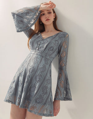Aesthetic V-Neck Fluted Sleeve Lace Dress