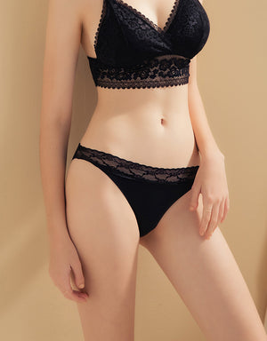 Lace Trim Mesh Splice Brief Panty