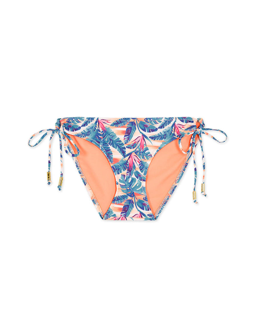Printed Side Tie Shirred Back Bikini Bottom