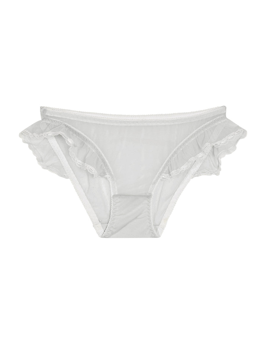 Striped Mesh Ruffle Brief Panty