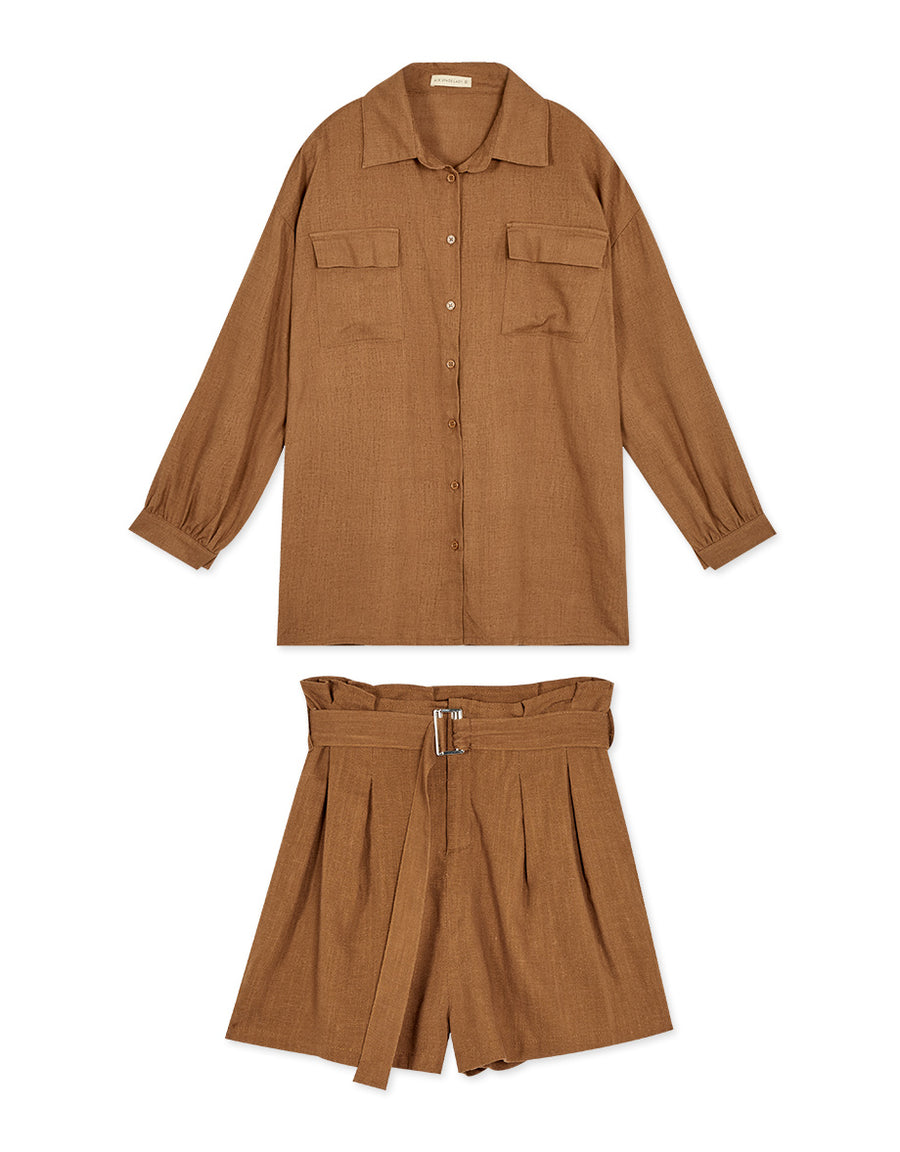 Hunter Style Two-Pocket Blouse + Paperbag Belted Shorts Set Wear