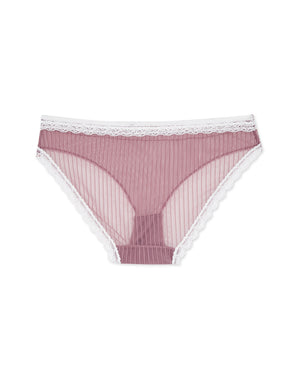 Lace Trim Striped Mesh Bikini Panty
