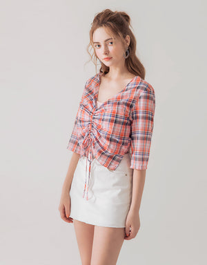 Fake-2-piece Plaid Top