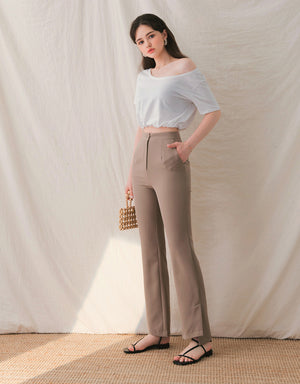 Cooling High Waisted Trumpet Pants (with Side Slit)