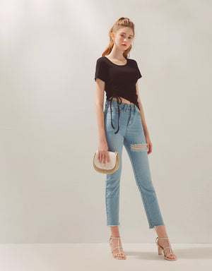 Minimalist Side Drawstring Ribbon Crop Top