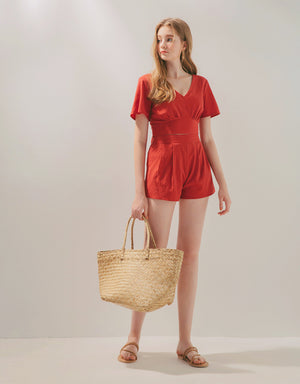 V Neck Back Tie Top & Shorts Set Wear