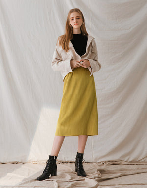 Textured Gloss Suede Pleated Midi Skirt