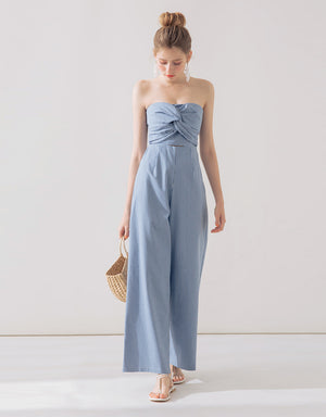 High-waisted Ribbon Striped Tube Jumpsuit
