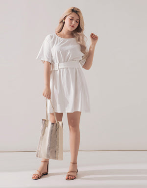 Round Neck Short Sleeve Belted Dress