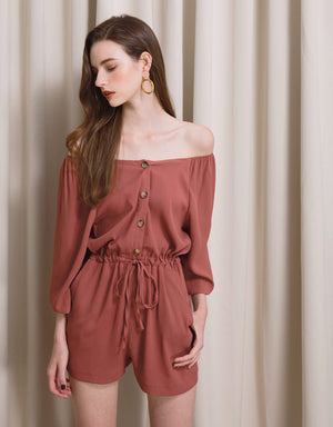 Off Shoulder Button-up Playsuit