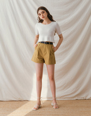 Sleek Textured Suit Belted Shorts