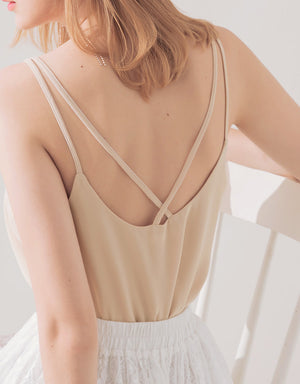 Double Strap Cross Back Sexy Neck Chiffon Top