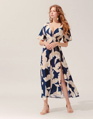 Printed V-Neck Chiffon Slit Maxi Dress