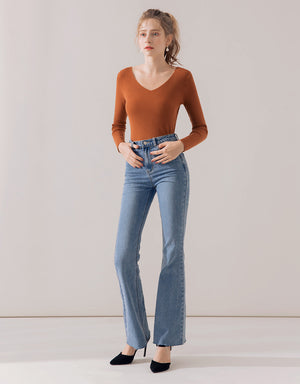 Casual V-Neck Frayed Hem Ribbed Top