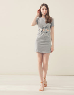 2WAY Knot Front Hollow Mini Dress