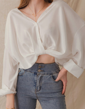 Knotted Sheer Crop Blouse