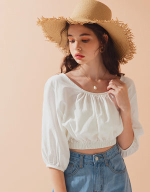 Round Neck Stretch Waist Crop Top