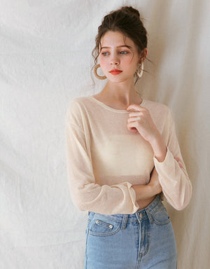 Colour Knit Long-Sleeve Crop Top