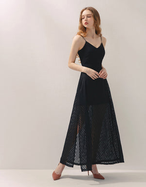 Printed Chiffon Thin Strap Slit Maxi Dress