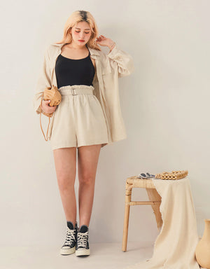 High Waisted Paperbag Belted Shorts
