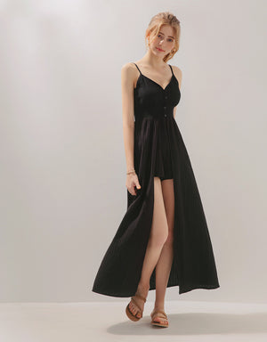 Thin Straps Lace Low Cut Slit Playsuit with Long Skirt Overlay