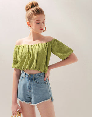 Off Shoulder Crumpled Crop Top (with Padding)