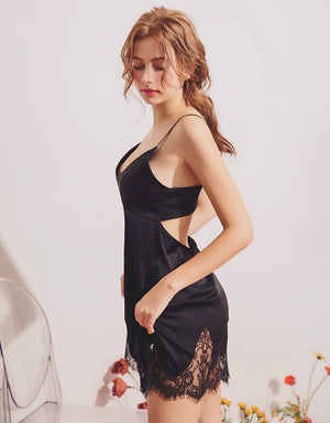 Hollow Waist Satin Slip with Lace Hem
