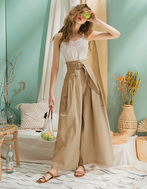 High-Waisted Paperbag Pleated Wide-Leg Belted Pants