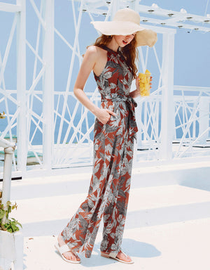 Tropical Print Halter Neck Knotted Jumpsuit