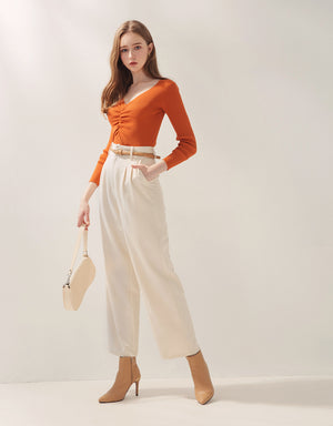 Front Shirred Fit Cut Crop Knitted Top