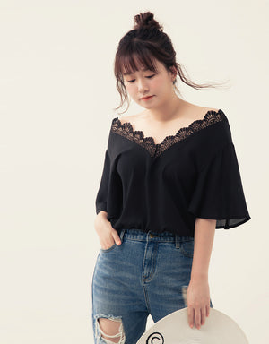 2WAY Lace Neck Chiffon Top