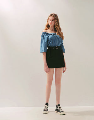 Chic Slim Fit D Ring Belted Mini Skirt