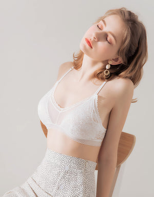 LACE MESH BRALETTE  WITH DETACHABLE BRA PAD