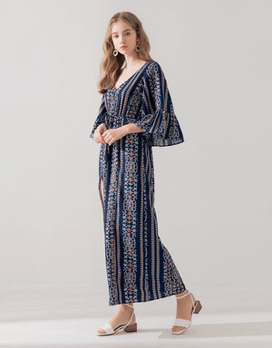 V-neck Printed Maxi Dress