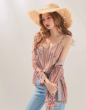 V-Neck Striped Cami & Blouse Set Wear