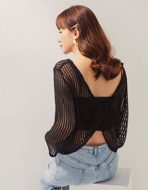 Casual Knot Back Transparent Top