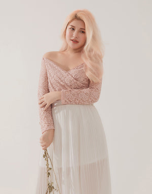 Off-shoulder Cross Neck Lace Zipper Top