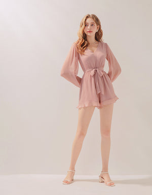 V-Neck Creased Chiffon Belted Playsuit