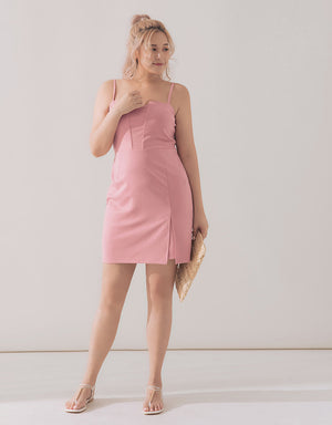 Thin Strap Bodycon Slit Dress
