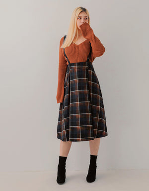 Tweed Plaid Pleated Suspender Midi Skirt