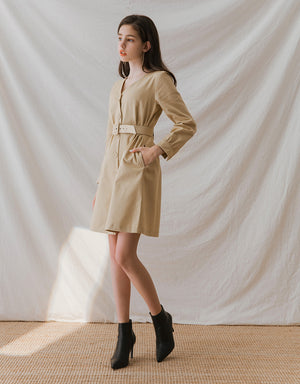 French Cinched Waist Button Up Long Sleeve Belted Dress