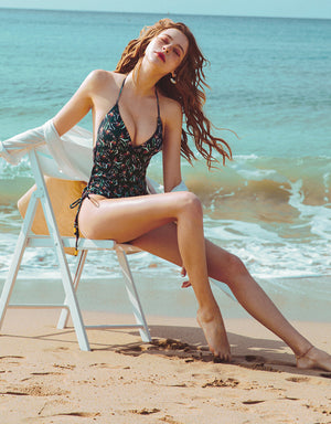 Printed Thin Strap Side Lace Up High-Leg One-Piece Bikini
