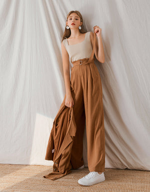 Linen Paperbag Pleated Wide-Leg Belted Pants